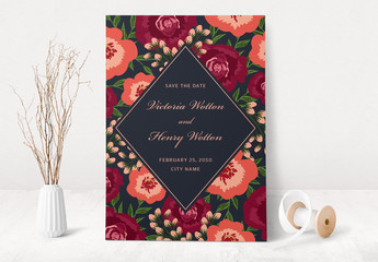 Floral Save the Date Card Layout