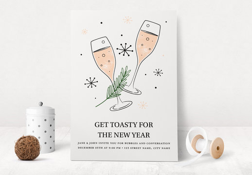 New Years Eve Party Invite Layout with Champagne