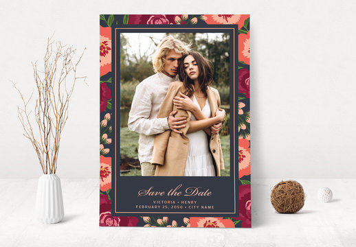 Floral Save the Date Card Layout with Photo