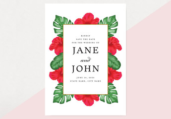Tropical Save the Date Card Layout