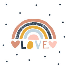 Decorative colorful stripy rainbow with hearts on dotty background. Love paper cut lettering. Scandinavian style childish boho illustration isolated on white in vector. Nursery poster print design