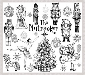 Big set of hand drawn sketch style characters and different objects related to The Nutcracker fairy tale isolated on white background. Vector illustration.