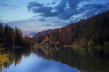 Aluminium Prints Mountains scenic lake in bavaria
