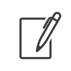 Notebook and pen icon. Vector on a white background