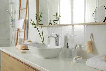 Stylish white sink in modern bathroom interior Wall mural