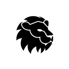 simple lion head vector design illustration