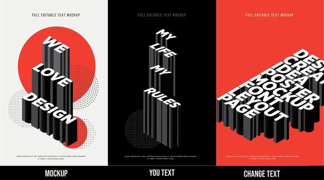 Modern poster design template 3D Text Effect Mockup /full editable