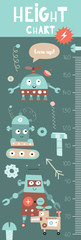 Kids height chart with cute robots, transformers, androids and cyborgs in Scandinavian style. Vector Illustration. Childish meter wall for nursery design.