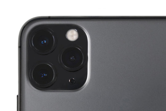 BANGKOK,THAILAND-OCTOBER 30: Close-Up on the New Iphone 11 Pro Max Camera Lens on October 30,2019