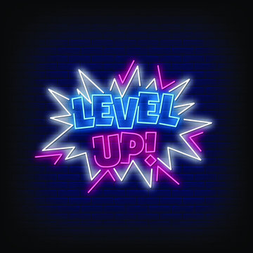 Level Up Neon Signs Style Text Vector
