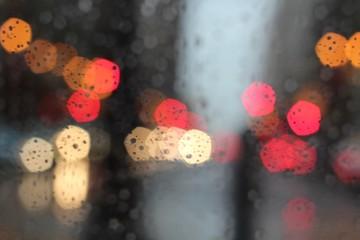 Beautiful colorful bokeh in rain