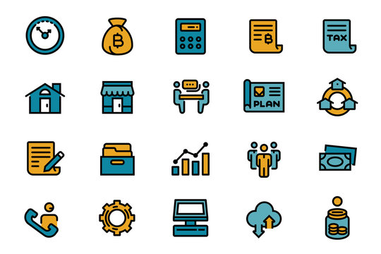Management small business or company with group of people. Standard care to work to progress. Line flat icon color 12pt.