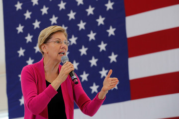 Democratic 2020 U.S. presidential candidate Warren speaks at a campaign town hall meeting in Durham