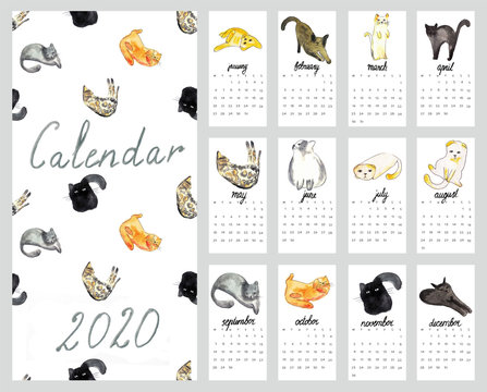 Calendar 2020 with watercolor illustration cats