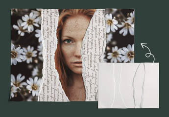 Realistic Torn Paper Photo Collage Mockup