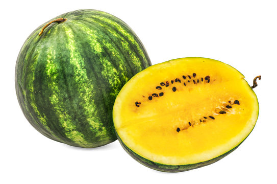 Watermelon with yellow flesh 3d rendering with realistic texture
