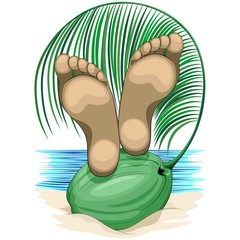 Feet Relax on Coconut Beach Life Vacations Vector illustration isolated on White Copyright BluedarkArt