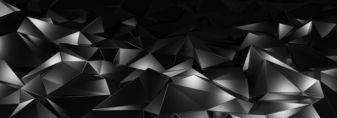3d ILLUSTRATION, of black abstract crystal background, triangular texture, wide panoramic for wallpaper