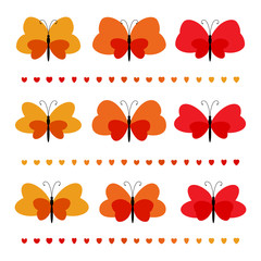 Set of red silhouettes of butterflies, vector moth seamless pattern