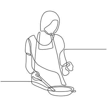 Awesome Girl cooking food continuous one line drawing vector illustration. Woman enjoy making foods. 240919g