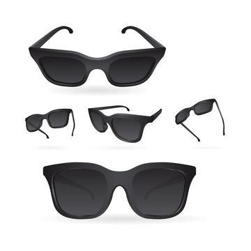 Sunglasses. Realistic vector sunglasses set. Sunglasses vector illustration collection. Modern and fashion dark sunglasses. Fashion accessory. Part of set.