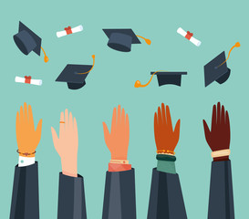 Modern vector illustration of throwing graduation hats in the air. Finish off educational institution. International students