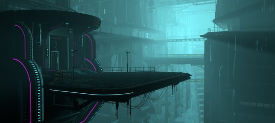 Fotomurales - 3D illustration of a futuristic city in a cyberpunk style. Industrial landscape in a blue haze. Night scene with neon lighting.