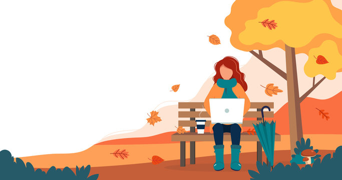 Girl with laptop sitting on bench in autumn. Cute vector illustration in flat style.