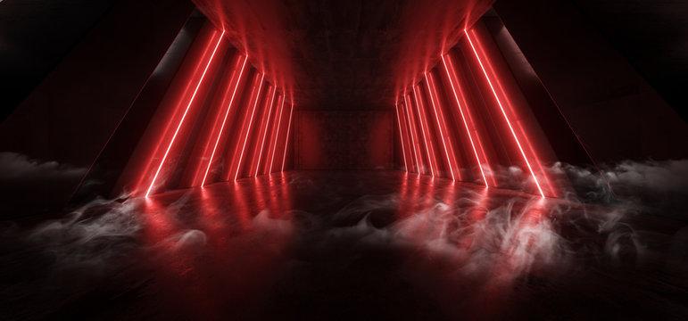 Orange Red Glowing Pylons Cement Concrete Hallway Tunnel Corridor Dark Underground Garage Gallery Stage Sci Fi Futuristic Modern Background 3D Rendering