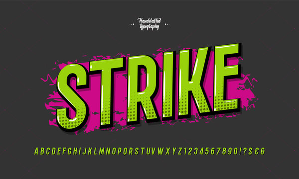 Strike font modern typography. Typeface trend colorful style for t shirt, animation, video, poster, printing, decoration, book. Cool alphabet. Vector Illustration 10 eps