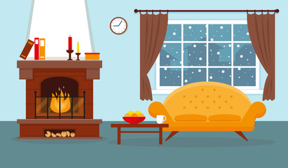 Cozy living room with window, fireplace and furniture. Vector interior design illustration.