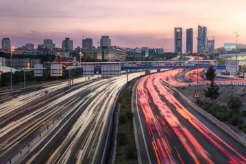 Fotobehang Nacht snelweg Atascos de Madrid