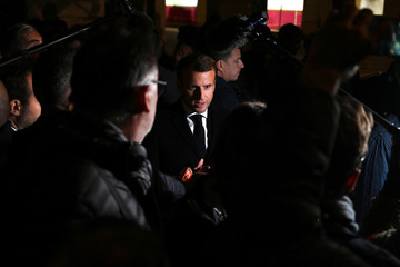French President Macron visits one month after fire broke out at Lubrizol chemicals factory, in Rouen