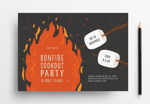 Bonfire Night Camp Cookout Flyer Layout