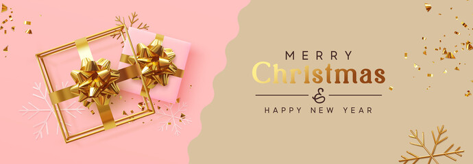 Holiday banner Merry Christmas and Happy New Year. Xmas design with realistic festive objects, realistic gift, 3d hollow gift-shaped cube, snowflake, glitter gold confetti. Festive Horizontal poster Fototapete