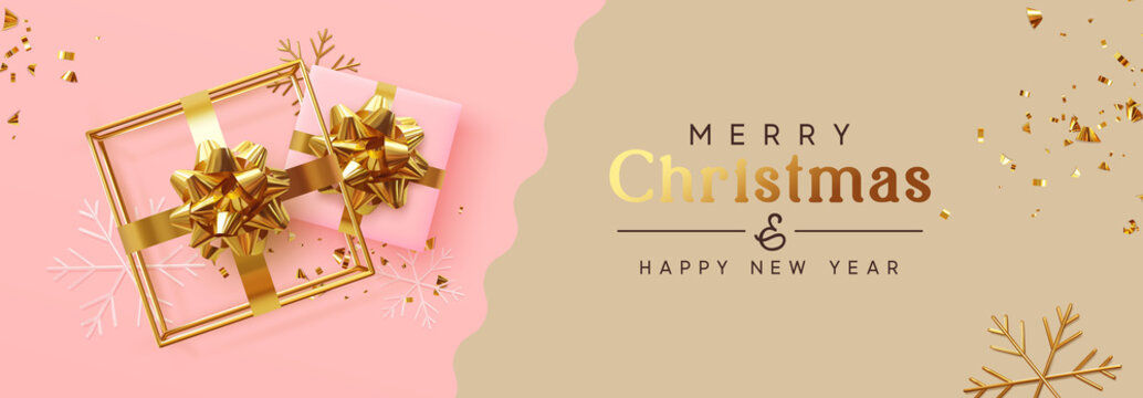 Holiday banner Merry Christmas and Happy New Year. Xmas design with realistic festive objects, realistic gift, 3d hollow gift-shaped cube, snowflake, glitter gold confetti. Festive Horizontal poster