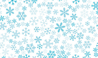 Seamless background with snowflakes. Beautiful translucent snowflakes on a transparent background