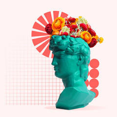 Beauty. Green statue with flowers on the head with geometric elements on coral background. Negative space to insert your text. Modern design. Contemporary colorful and conceptual bright art collage.