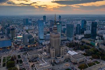 Aerial drone in Warsaw skyscrapers nad centre.