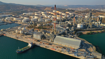 Aerial photo of industrial oil and gas refinery in Elefsina area, Attica, Greece