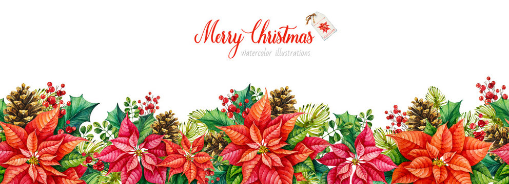 Poinsettia. Christmas decoration border. Watercolor Botanical handpainted illustration. Collection of Christmas element. Happy New Year. Watercolor Merry Christmas. Seamless pattern.