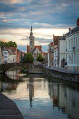 Bruges, Belgium. Cityscape at sunset