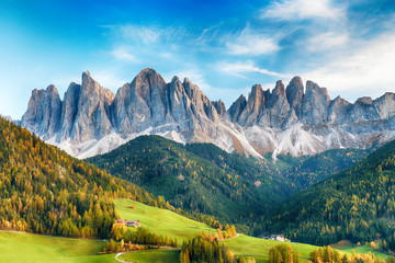 Poster Alpes Beautiful landscape of Italian dolomites - Santa maddalena