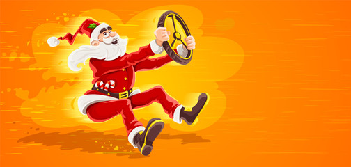 Christmas Santa Claus drives vehicle with wheel of virtual car. High-speed driving to holiday. Cartoon character in red suit with beard as symbol of christmas. Eps10 vector illustration.