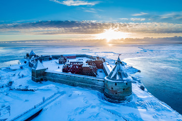 Saint Petersburg. Russia. Krondstadt. Fortress oreshek in the winter. Shlisselburg fortress aerial view. Excursions to winter Krondstadt. Stone fort on the island. Origins of the Neva River. Sights