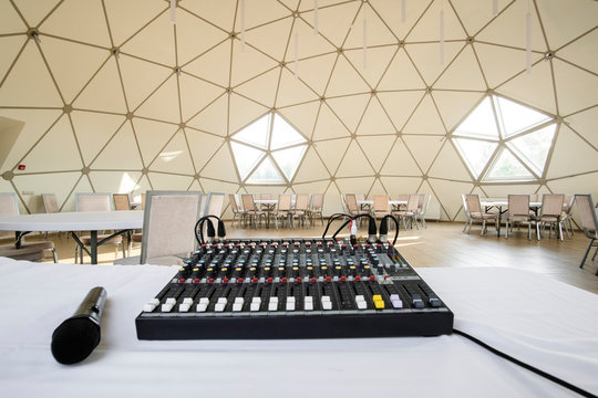 image of sound engineer console