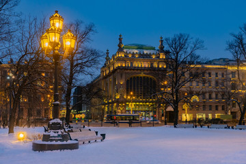 Saint Petersburg. Russia. Panorama of the night St. Petersburg. Lanterns in the winter city. The architecture of St. Petersburg. Winter in Russia. Russia europe. Snow in the Russian Federation