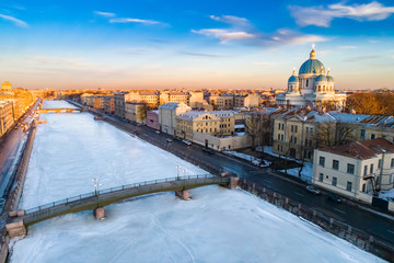 Saint Petersburg. Russia. Trinity Izmailovsky Cathedral. Canals of St. Petersburg in the winter. Winter excursions in St. Petersburg. Russia church on the background of blue sky. Russia snow.