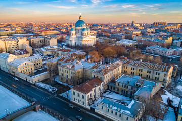 Saint Petersburg. Russia. Trinity Izmailovsky Cathedral. Tours of the cathedrals of Russia. Panorama of the Russian city. Roads of St. Petersburg. Roofs. Petersburg with a quadcopter. Travels