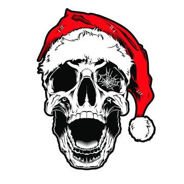 skull with santa hat, TSHIRT DESIGN